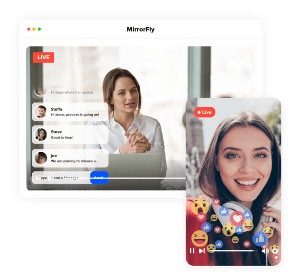 Live broadcasting chat software